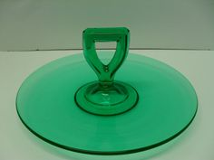 Vintage Emerald Green Glass Serving Tray Tidbit by PassItOn2013