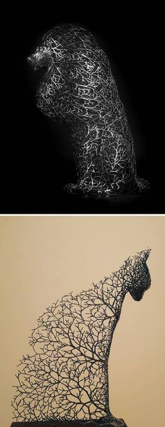Artist Kang Dong Hyun creates metal sculptures that look as though they are formed from delicate tree branches and twigs.
