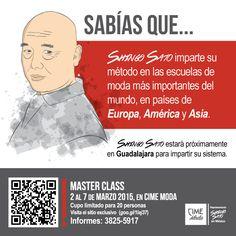 SABÍAS QUE.. #ShingoSato imparte su método en las escuelas de moda más importantes del mundo, en países de Europa, América y Asia. Master class 2 a 7 de marzo 2015, en #CimeModa  Visita www.CimeModa.com