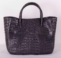Сумка из натуральной кожи крокодила, черная