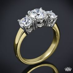 Engagement ring - When one diamond can't express how much you love them, we present this gorgeous 3 Stone Engagement Ring. Also referred to as a Past, Present and Future ring. You can choose to purchase this ring as a setting only which will allow you to select all three diamonds or we can provide you with two A CUT ABOVE® Hearts and Arrows Diamond Melee side stones