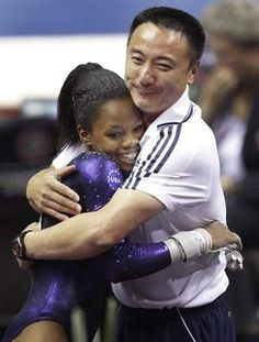 Gabby Douglas and coach liang