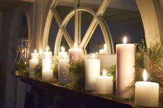 mantel full of candles