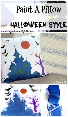 Paint you own Halloween Decor with Paint-A-Pillow by Cutting Edge Stenils! - www.refashionablylate.com