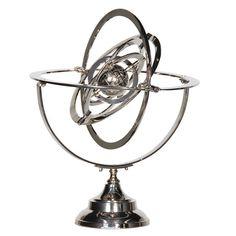 Modern Silver Nickel Finish Armillary Sphere