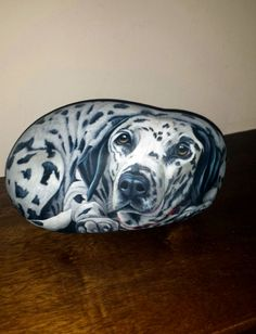 Dalmatian on stone, hand painted by Ernestina Gallina. https://www.facebook.com/pietrevive.ernestina/