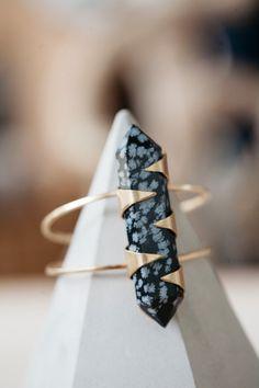 Copo de nieve obsidiana eje manguito / / manchado, punto de piedra, varilla, alambre del pun ¢ o