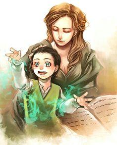 Frigga with kid Loki