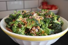 Classic Broccoli Salad.  I added a handful of toasted, salted sunflower seeds.  This recipe was missing them!   There was also too much dressing.  I will definitely cut back next time.