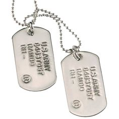 Mens RnB Silver Double Dog Tag US Army Rambo Dogtag Chain | RnBJewellery