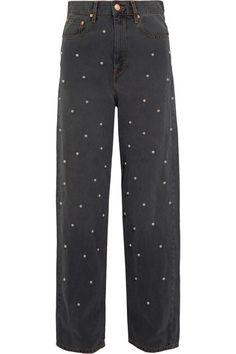 ETOILE ISABEL MARANT Curt Faux Pearl-Embellished Low-Rise Boyfriend Jeans. #etoileisabelmarant #cloth #jeans