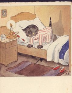 Cat Frightened by Mouse Under Bed PJ's Candle Ida Bohatta Vintage Postcard | eBay