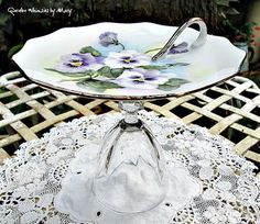 Vintage Pansies Pedestal Whimsy / Jewelry by GardenWhimsiesByMary