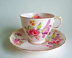 Teacup and Sauce Montrose Pink Floral Vintage Teacup and Saucer Tuscan by treasurecoveally on Etsy
