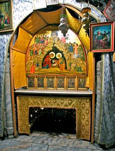This is the altar above the place of the Nativity of Jesus in the grotto of the Nativity in Bethlehem. The cave of the Nativity in the icon above the altar is the inspiration for the new icon of the Nativity by Monastery Icons.