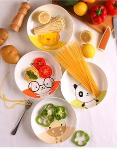 Cartoon Animal Dishes And Plates Fruit Cake Pastry Porcelain Tray Steak Noodle Ceramic Tableware Children Dinner Dish Dinnerware