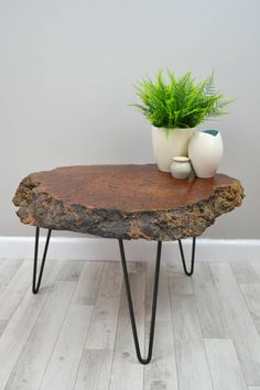 Live Edge Wood Slice Coffee Table On Hairpin Legs - The perfect living room accessory as winter draws in. Craft is at the heart of the artisan trend, as it brings together rustic materials such as wood, rope and clay. Wood Slice Coffee Table, Coffee Table Plants, Tree Stump Coffee Table, Wood Slab Table, Coffee Tables, Wood Tables, Live Edge Wood, Live Edge Table, Live Edge Furniture