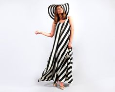 Airy Maxi Dress with Black & White Strips New by MikiBeFashion, $99.00