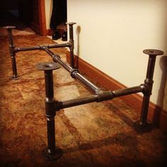 Industrial black steel pipe coffee table base. Top coming soon