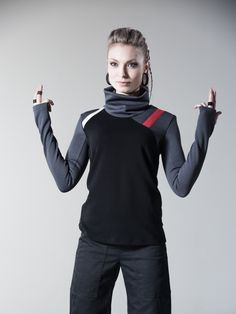 Cyberpunk sweater sci fi pullover industrial shirt ong sleeves thumb holes - 7N woman by ZOLNAR on Etsy https://www.etsy.com/listing/267102302/cyberpunk-sweater-sci-fi-pullover