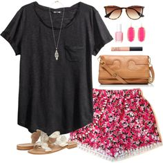 pink floral by classically-preppy on Polyvore featuring polyvore, fashion, style, H&M, Jack Rogers, Tory Burch, Kendra Scott, J.Crew, NARS Cosmetics and Essie