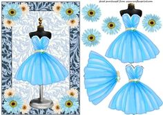 Blue Floral Cocktail Dress Card Front