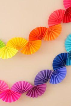 rainbow paper fan garland easy diy