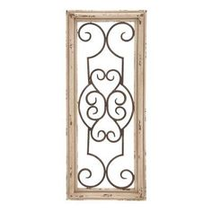DecMode 10W x 25H in. Wood Framed Wrought Iron Scrollwork Wall Panel - 52732, UMA9087