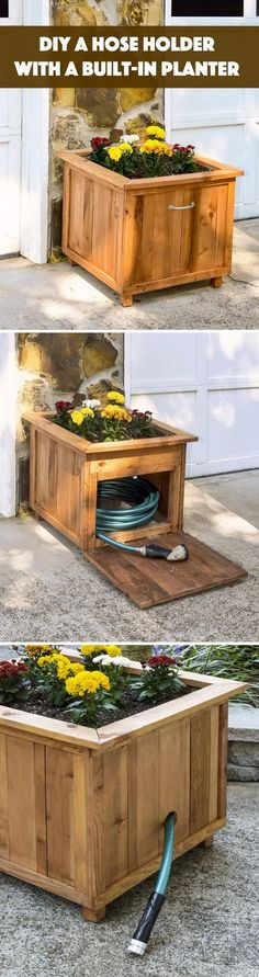 DIY Pallet Wood Hose Holder with Planter. #WoodProjectsDiyBackyards