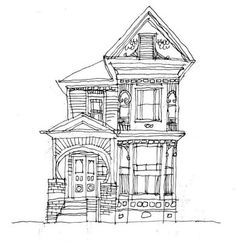 old house line drawing - Google Search                                                                                                                                                                                 More