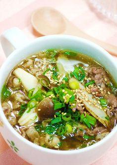 ダイエット押し!『牛ごぼうの食べるスープ』雑誌Tarzan掲載 /蟻と格闘 ... Wine Recipes, Asian Recipes, Soup Recipes, Cooking Recipes, Ethnic Recipes, Healthy Soup, Healthy Recipes, Daily Meals, International Recipes
