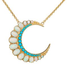 My mother gave me a deeply set love of opal jewelry and I love this turquoise and gold crescent necklace with a fierce passion. Opal Jewelry, Turquoise Jewelry, Gold Jewelry, Jewelry Accessories, Fine Jewelry, Jewelry Making, Jewlery, Tiffany Jewelry, Turquoise Pendant