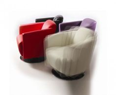 Clinton Leather Swivel Tub Chair in Avocado, Brown, Ivory, Purple & Red - Frances Hunt