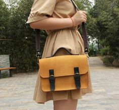 Genuine Leather Briefcase from Uncovet. Postman Bag, My Style Bags, Leather Briefcase, Leather Satchel, Best Handbags, Yellow Leather, Backpack Bags, Look, Purses And Bags