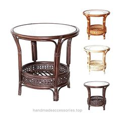 Pelangi Handmade Rattan Round Wicker Coffee Table with Glass Dark Brown  Check It Out Now     $104.99    ~Natural Rattan (Wicker) ~Handmade & Design ~Fully Assembled ~Strong & Light Glass is Included        Check It Out ..  http://www.handmadeaccessories.top/2017/03/17/pelangi-handmade-rattan-round-wicker-coffee-table-with-glass-dark-brown/