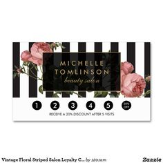 Vintage Floral Striped Salon Loyalty Card Business Card