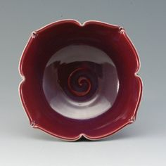 Handmade Porcelain Pottery Stoneware Bowl Plum Red by MarksPottery