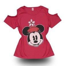 """T-shirt Rosa Ombros vazados """"Minnie"""""""