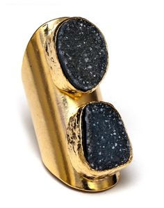 Druzy knuckle ring