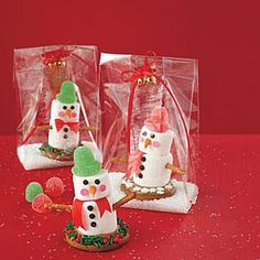 These super-cute snowmen (which rely on melted caramels and royal icing to stay together) are easy for little hands to help put together, and they're a great way to enjoy some family time during the holidays. Wrap them up in a simple, clear plastic bag for teacher treats or for your children to give to their friends.