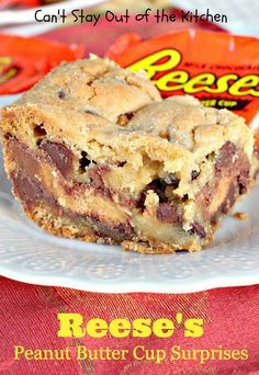 Reese's Peanut Butter Cup Surprises - Can't Stay Out Of The Kitchen Köstliche Desserts, Delicious Desserts, Dessert Recipes, Yummy Food, Bar Recipes, Peanut Butter Cups, Peanut Butter Desserts, Peanut Butter Blondies Recipe, Cookies
