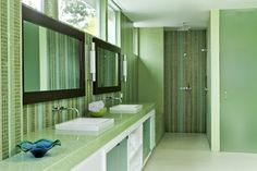 Green bathroom in Beautiful Modern Home by Shubin + Donaldson Architects