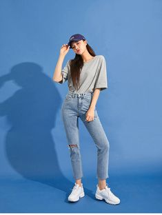 Chuu Soft T-Shirt For The Basic Vol. 7 - I know you wanna kiss me. Thank you for visiting CHUU. Korean Summer Outfits, Korean Casual Outfits, Basic Outfits, Classy Outfits, Cute Outfits, Korean Girl Fashion, Korean Fashion Trends, Ulzzang Fashion, Mode Ulzzang
