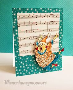 """Art Impressions Ugly Sweater Set.  Handmade Christmas card with """"sheet music"""" background."""