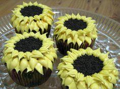 Cupcakes girasoles con galletas Oreo