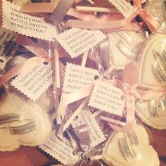 """Love is sweet when its new, but it's sweeter when it's true."" Bridal shower lollipops for my beautiful cousin. #chocolatelolipops #bridalshowerfavor #bridalshower #customchocolatecandies #Padgram"