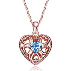 Christmas Gifts Deals NEEMODA Rose Gold Plated Filigree Heart Pendant Fashion Necklace Blue Crystal Womens Jewelry. Specifications: 1.Chain Length: 15.75 inches + 2 inches. Pendant Height: 0.83 inches. Pendant Width: 0.59 inches.   2.Weight: 0.26 ounces.   3. Main Stone: Czech PRECIOSA Crystal . Stone Color: Sapphire Blue. Stone Shape: Heart. Chain Type: Cable.   4.Metal Type: Eco-friendly Rose Gold Plated.   5. Craftsmanship: Triple-layer vacuum furnace plating, Microscopic Inlay Technique…