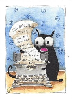 ACEO Original watercolor painting whimsy black fat cat Halloween Boo typewriter #IllustrationArt