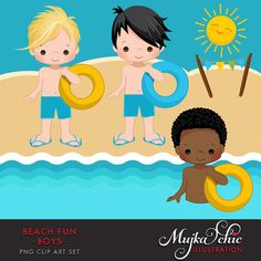Beach Fun Clipart for Boys Summer is here! Perfect Beach party set for boys. Set includes 3 boy charcters, swimming and standing at the beach, Sun and
