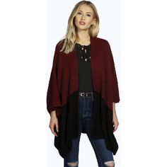 Boohoo Kayla Ombre Blanket Cape Cardigan ($30) ❤ liked on Polyvore featuring tops, cardigans, wine, ombre top, cardigan jacket, ombre cardigan, longline cardigan and lightweight black cardigan